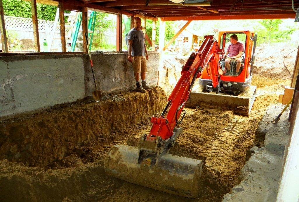 this is a picture of the same basement excavation as above showing