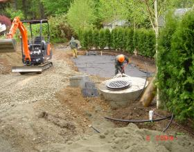 Compact septic field backfilling in Duncan BC