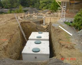 Concrete septic tanks in series in Victoria BC