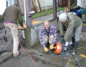 Clearing blockage in drain tiles in Victoria BC