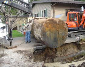 Buried oil tank excavation in Victoria BC