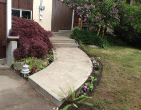 Finished concrete sidewalk and stairs in Victoria BC