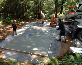 Forming, pouring and finishing concrete slab in Victoria BC