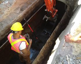 Cleaning out an interted buried oil tank in Victoria BC