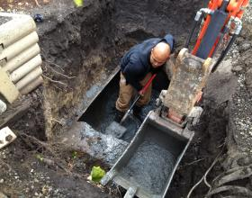 Excavating buried oil tank in Nanaimo BC