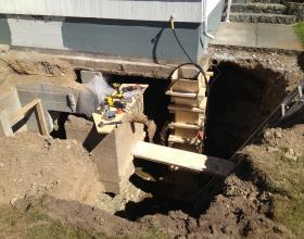 House foundation support column in Victoria BC