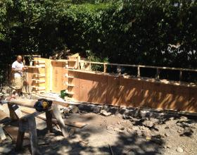 Forming architectural concrete retaining wall in Victoria BC
