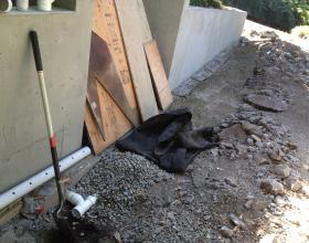 Architectural concrete retaining wall and drainage in Victoria BC