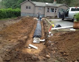 New gravity septic field and distribution box in Victoria BC