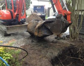 Freshly removed buried oil tank in Victoria BC