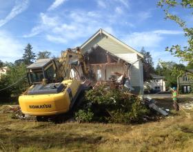 Two story house demolition in Victoria BC