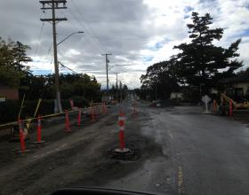 Sidewalk and road construction in Victoria BC