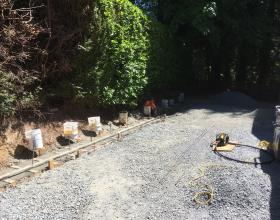 Concrete retaining wall footings in Victoria BC