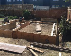 Concrete forms for house foundation in Victoria BC
