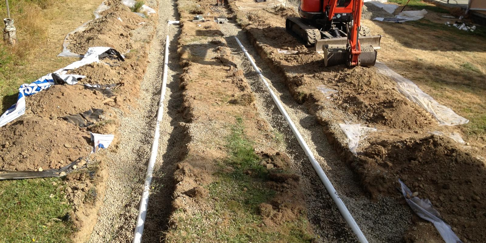 New septic field construction